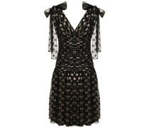 Ruched Polka-dot Metallic Fil Coupé Silk-blend Dress