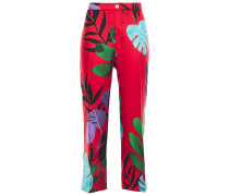 Woman Ceo Cropped Printed Silk-twill Straight-leg Pants Red