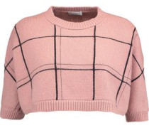 Cropped checked cashmere sweater