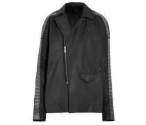Metal-trimmed wool-paneled leather jacket
