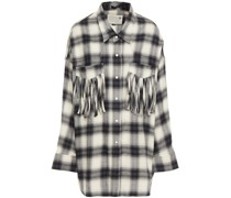 Fringed Checked Cotton-flannel Shirt
