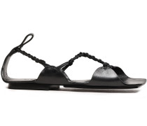 Braid-trimmed Leather Sandals