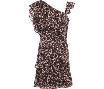 Ruffled Leopard-print Devoré-chiffon Mini Dress