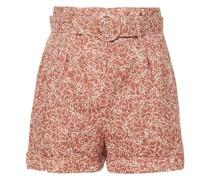 Naila Bedruckte Shorts aus Leinen mit Gürtel
