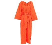 Luz Strandkleid aus Jacquard aus Einer Baumwoll-leinenmischung mit Raffung
