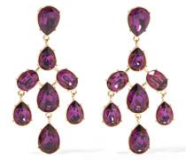 Gold-tone Crystal Clip Earrings Dunkellila