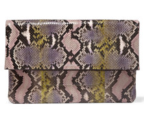 Janey Fold-over Python Clutch Pastellrosa