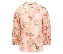 Gathered Lace-trimmed Floral-print Silk-satin Blouse