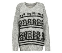 Fringed marled wool and cashmere-blend sweater