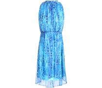 Abertha Gathered Printed Chiffon Mini Dress