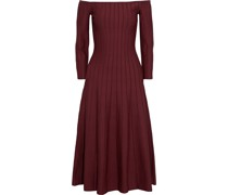 Off-the-shoulder Pleated Knitted Midi Dress