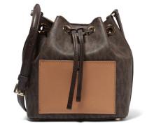 Printed Textured-leather Bucket Bag Braun