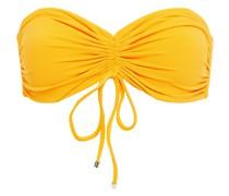 Gerafftes Bandeau-bikini-oberteil aus Stretch-piqué