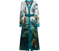 Clizio Belted Printed Hammered-silk Midi Dress