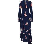 Gabriella Asymmetric Gathered Floral-print Crepe De Chine Maxi Dress