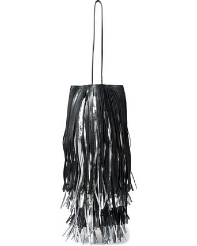 Fringed Matte And Metallic Leather Bucket Bag Black Size --