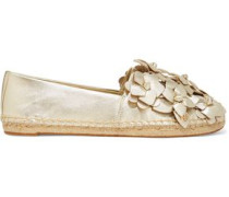 Blossom metallic appliquéd textured-leather espadrilles