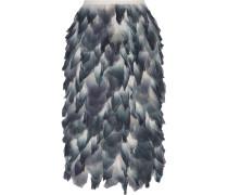 Layered Printed Silk-chiffon Midi Skirt Rauchblau