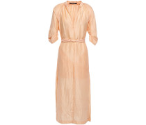 Unearthed Belted Crinkled Silk-crepe Midi Dress