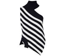 Gestreifter Rollkragenpullover aus Merinowolle mit Asymmetrischer Schulterpartie