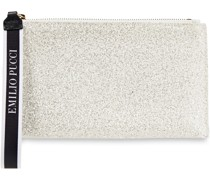 Leather-trimmed Glittered And Satin Pouch