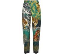 Tartaro Printed Silk-twill Straight-leg Pants