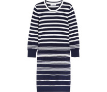 Marta Striped Silk And Cashmere-blend Sweater Dress Navy