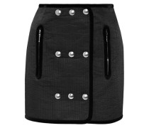 Embellished Quilted Twill Mini Skirt Schwarz
