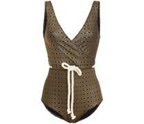Yasmin Badeanzug aus Metallic-seersucker mit Gürtel