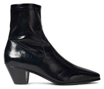 Faux Stretch-leather Ankle Boots