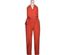 Thai embellished linen-blend halterneck jumpsuit