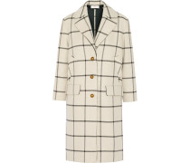 Checked Woven Coat Wollweiß