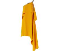 Asymmetric Draped Chain-embellished Crepe Dress