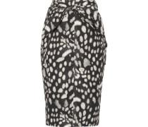 Leopard-print cotton-poplin skirt