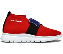 Woman Appliquéd Stretch-knit Slip-on Sneakers Red