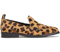 Alexa Leopard-print Calf Hair Loafers