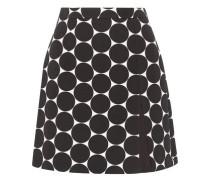 Polka-dot cotton and silk-blend matelassé mini skirt