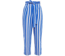 Cropped Gathered Striped Crinkled-jacquard Straight-leg Pants