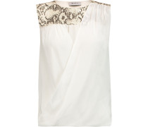 Leather-trimmed Silk And Stretch-jersey Top Camel