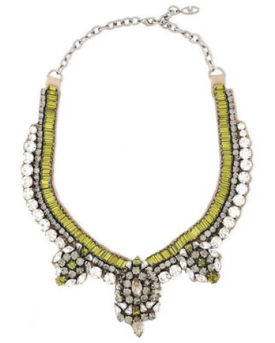 Woman Gunmetal-tone Crystal And Satin Necklace Lime Green