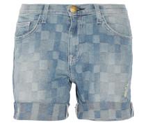 The Slouchy Cut-off Checked Denim Shorts Heller Denim