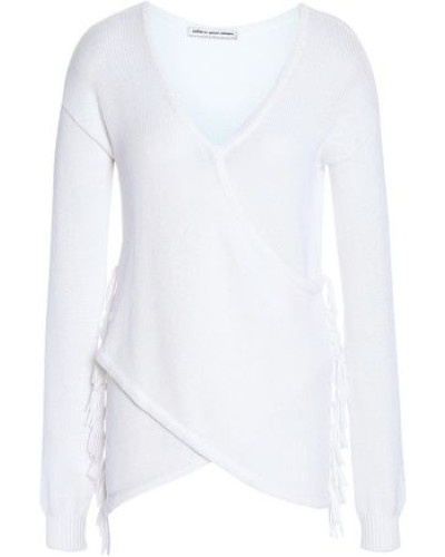 Wrap-effect Fringe-trimmed Cotton Sweater White