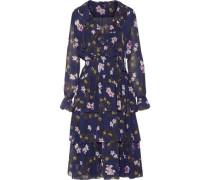 Ruffled tiered floral-print chiffon midi dress