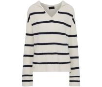 Woman Josie Striped Cashmere Hooded Sweater Ecru