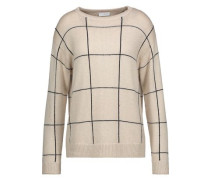 Sequined checked intarsia-knit cashmere and silk-blend sweater
