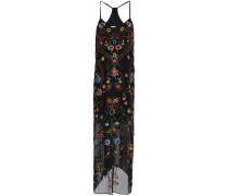 Embellished embroidered crepe de chine maxi dress