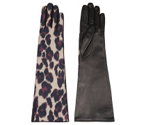 Leopard-print Twill And Leather Gloves Leoparden-Print