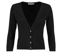 Cropped Stretch-cotton Cardigan Schwarz