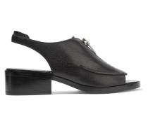 Alexa Textured-leather Slingback Sandals Schwarz