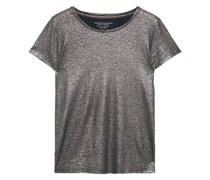 Metallic Slub Stretch-linen Jersey T-shirt
